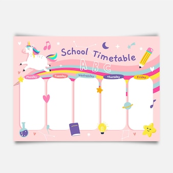 Girly back to school timetable