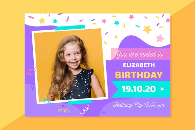 Girly birthday invitation with photo