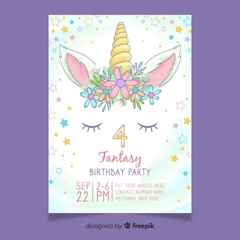 Girly birthday invitation with unicorn