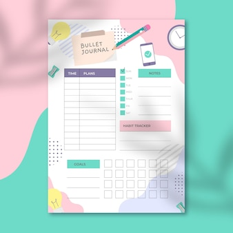 Girly bullet journal planner template