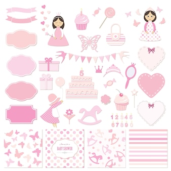 Girly decorative elements set