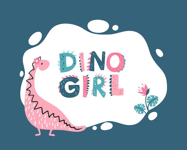 Girly dino photo frame, templates for text or invitations.