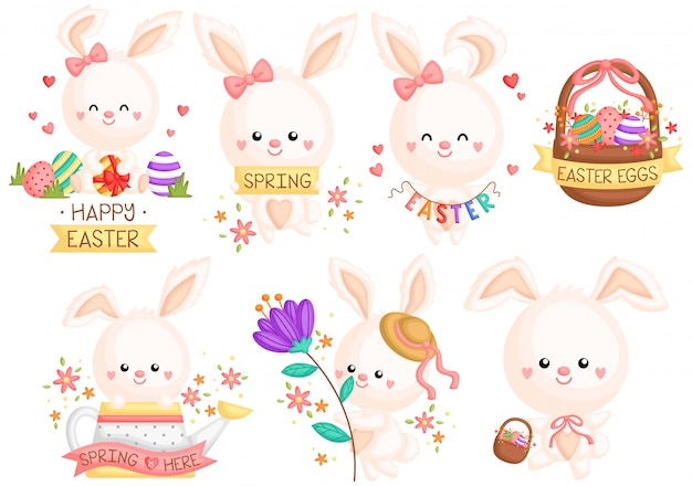 Girly easter bunny set