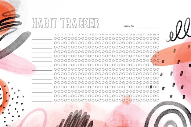 Girly habit tracker template with painted shapes