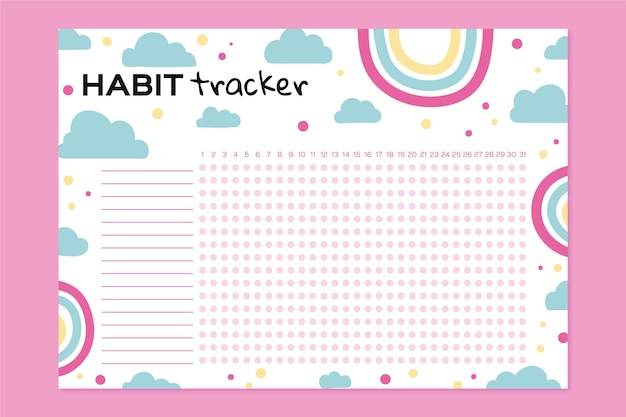 Girly habit tracker template with rainbows
