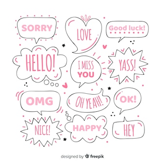 Girly hand drawn speech bubbles with different expressions