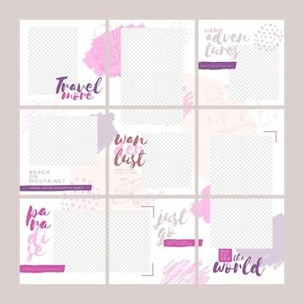 Feed di puzzle instagram girly per viaggiare
