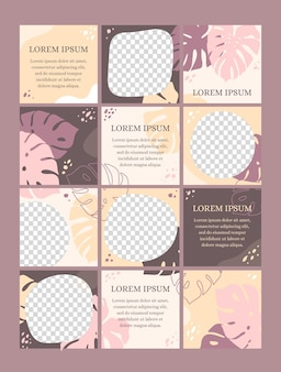 Girly instagram puzzle with twelve templates