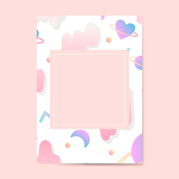 Girly pastel card mockup vector