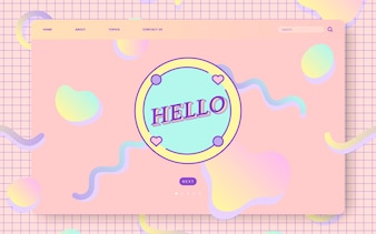 Girly pastel website design vector