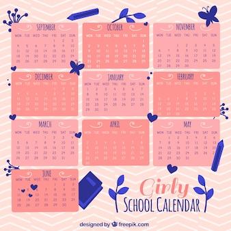 Girly calendario scolastico con fiori