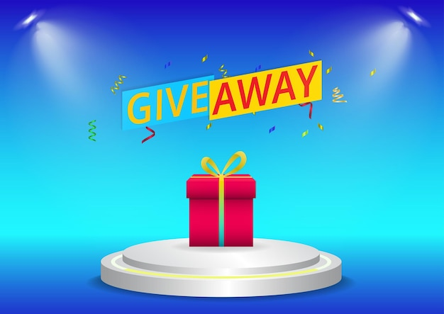 Give away background with gift on podium