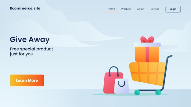 Give away campaign for web website home homepage landing page banner template flyer