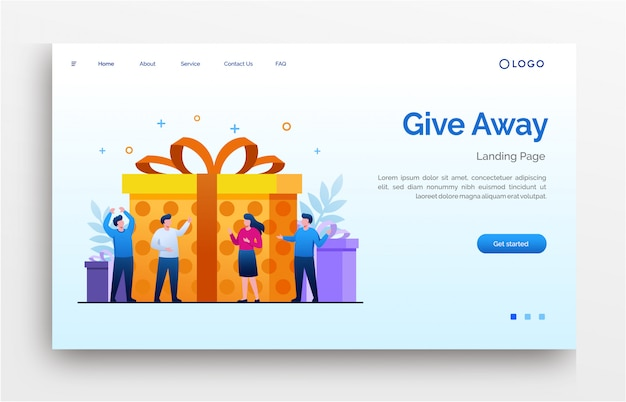 Give away learning landing page website illustration flat template