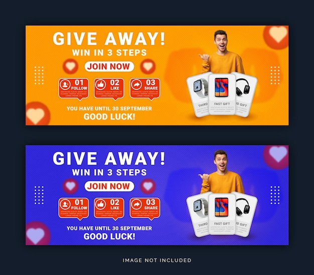 Give away product win in three steps facebook cover banner social media post template