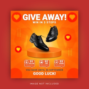 Give away product win in three steps instagram story banner social media post template