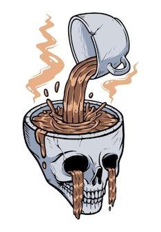あなたの頭のイラストにコーヒーを与える
