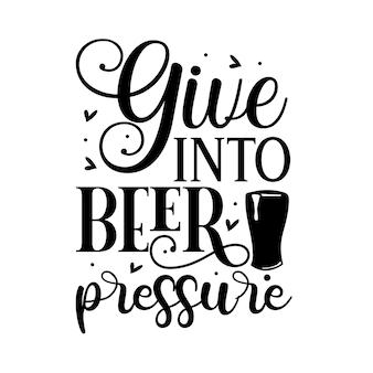 Надавить на пиво ручная надпись premium vector