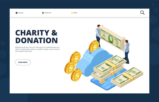 Give money isometric concept. donation and charity landing page. illustration contribution and savings, layout donating service
