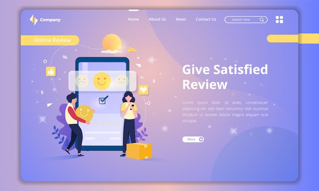 Дайте удовлетворенные отзывы о концепции обратной связи с клиентами на целевой странице