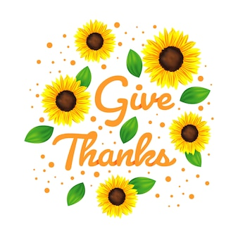 Give thanks background with sun flower