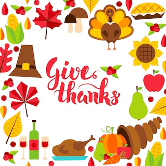 Give thanks concept with lettering. vector illustration of autumn holiday.