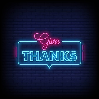 Give thanks neon sign style text vector