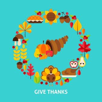 Поблагодарите открытку. день благодарения. векторные иллюстрации. осенние праздничные объекты.