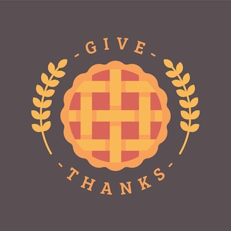 Give thanks. thanksgiving pie flat illustration