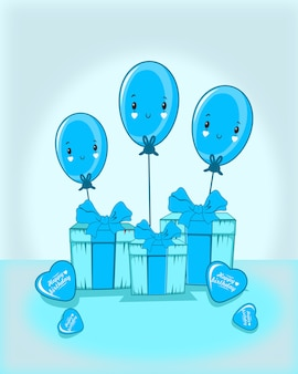 Give with three emoticon balloon and love balloon