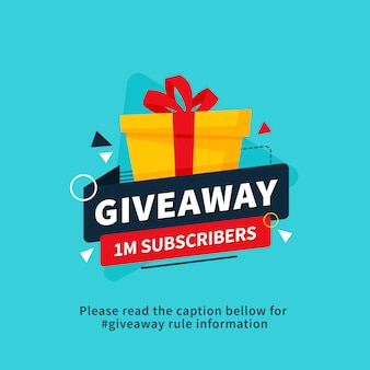 Giveaway 1m subscribers poster template design for social media post or website banner.
