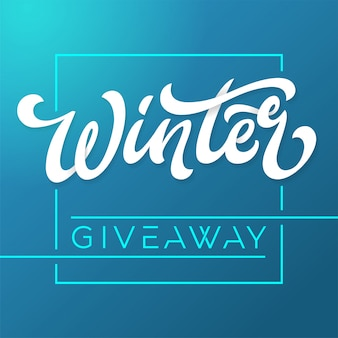 Баннер-раздача зимних конкурсов в социальных сетях. шаблон для баннера, плаката, флаера, рекламы, печати. кисть надписи на синем фоне. иллюстрации.