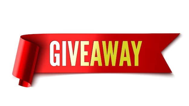 Giveaway banner red ribbon tag sticker