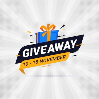 Giveaway banner template design for social media post Premium Vector