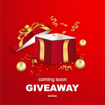 Giveaway banner template design with open gift box on red background.