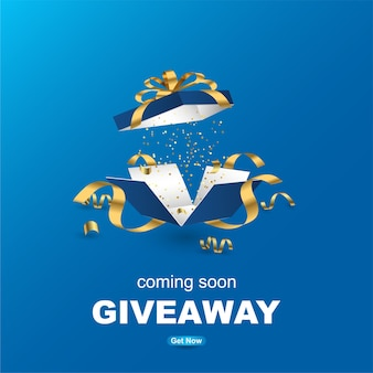 Giveaway banner template design with realistic gift box.