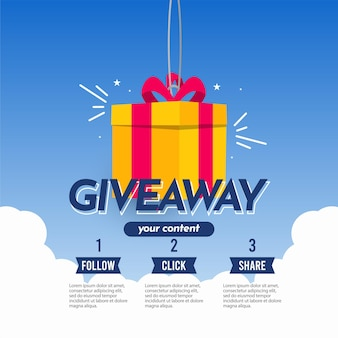 Giveaway banner template gift social media follow like share