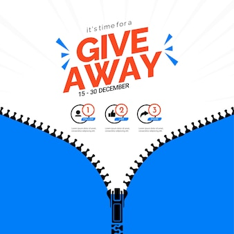 Giveaway banner template gift social media