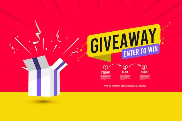 Giveaway banner template illustrations