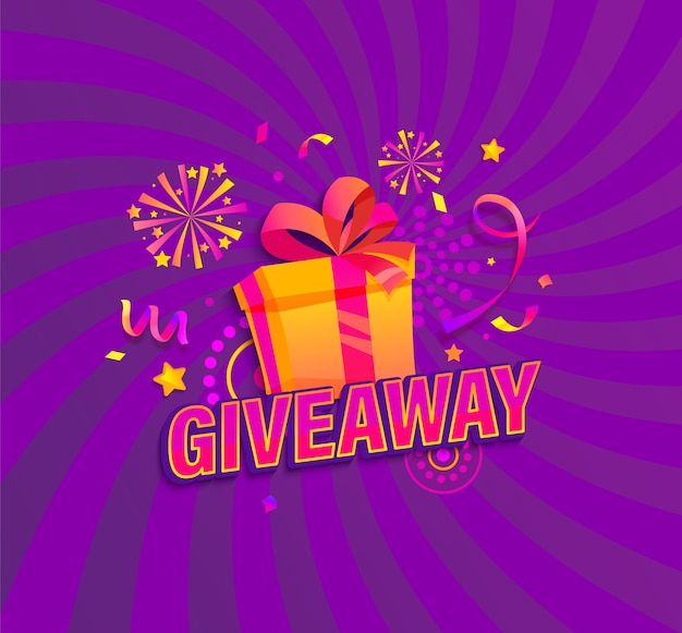 Giveaway banner win poster with gift box
