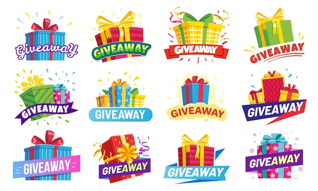 Giveaway banners set Premium Vector
