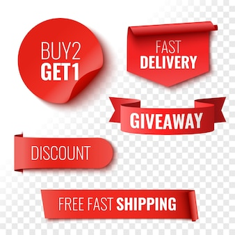 Giveaway buy 2 get 1 fast delivery discount and free shipping sale banners red ribbons tags and stickers vector illustration