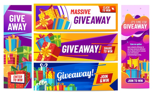 Giveaway colorful banners. giving gifts, present boxes with ribbons. winning award or prize in contest for social media posts. internet blogger announcement, random quiz vector illustration