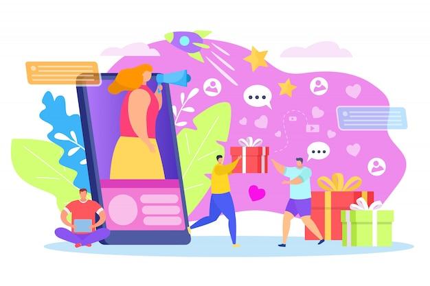 Концепция раздачи, иллюстрация. люди празднование характер подарок на ярком фоне, социальный маркетинг продвижение на приз