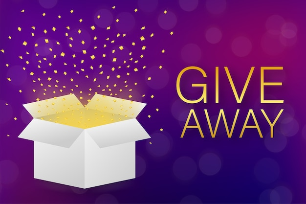 Giveaway concept with gift box Premium Vector