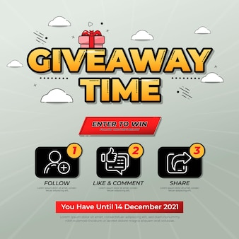 Giveaway contest for social media feed