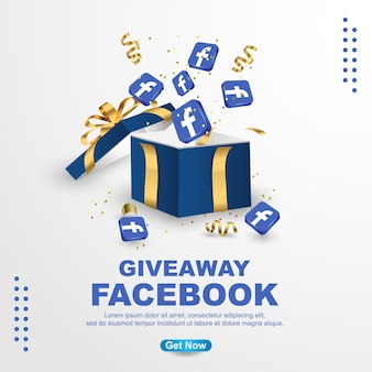 Giveaway facebook banner template  on white background