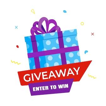 Концепция бесплатного подарка для победителей в плоском дизайне социальных сетей