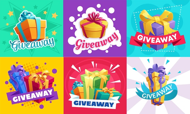 Giveaway gifts promotion, free prizes quiz and lottery with presents ad
