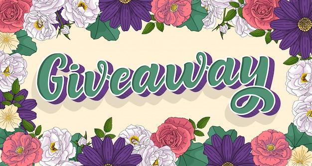 Giveaway lettering. 3d style, vintage illustration. ad promotion contest image.